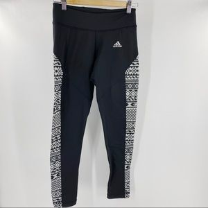 Adidas black and geometric pattern workout tights